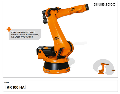 Speciality: High Accuracy. Reach: 2,600 mm.  KUKA's industrial robots in the High Accuracy (HA) series represent the most precise and accurate robot arms in the industry. These high-accuracy robots allow users to handle large payloads while maintaining repeatabilities precise to the hundredths of millimeters. KUKA HA robots perform routing, material handling, welding, and many other industrial applications.