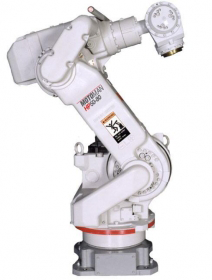 The Motoman HP50-80NX100 takes productivity to the next level, offering superior performance in applications, such as machine tending, dispersing, material handling, and material removal.   The HP50-80 features a streamlined body, which allows it to be placed closer to machines. This model has a large work envelope, an 80 kg payload, and 6 axes. It includes a vacuum gripper with mount plate, sensors, and integration to NX100 controls featuring a Windows CE programming pendant with color touch screen, high-speed processing, a memory for 60,000 steps and 10,000 instructions, built-in Ethernet, and a robust PC architecture with four levels of password protection for up to 100 individual users. The robot also has a Motoman mono-sight vision package, which includes camera and software for 2D vision and part recognition.