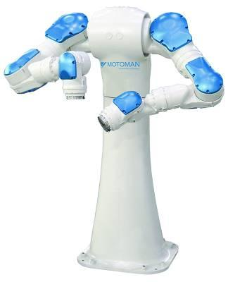 This beheaded-looking Motoman SDA10D dual-arm robot provides human-like flexibility. Its stylish slim design only lacks a head to match its well designed body, but it is well suited for a variety of assembly applications to increase production, speed, and consistency. The 15-axis SDA-10D offers 10 kg payload per arm and operates with either the NX100 or DX100 controller, offering the ultimate in multiple axis control.