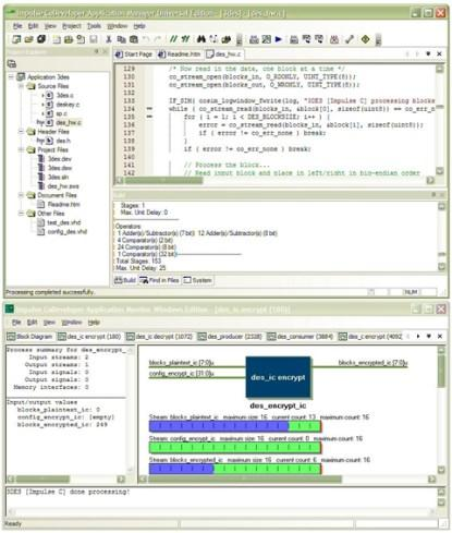 On screen, the software developer sees an interface compatible with common tools such as Visual Studio. Impulse adds elements that help visualize the task of parallelizing in a manner that maximizes use of the parallel channels in the FPGA.
