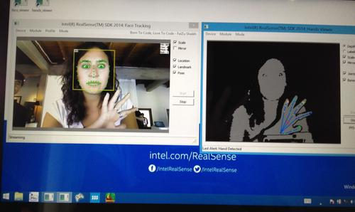 RealSense's facial and hand tracking.