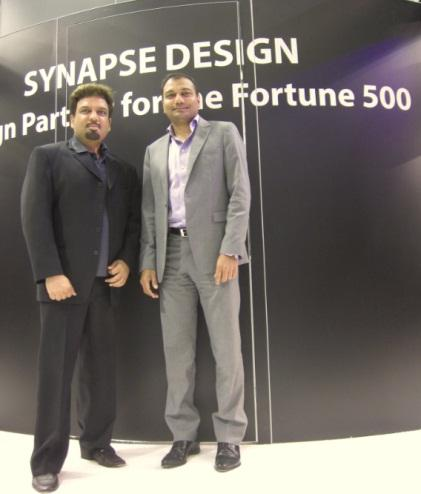 Satish Bagalkotkar (right), Synapse Design co-founder, CEO and president at Synapse Design, and Devesh Gautam, co-founder and COO, at Design Automation Conference in June, 2014. (Source: Junko Yoshida)