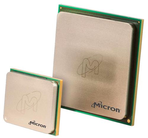 Micron's 2-gigabyte and 4-gigabyte parts will ship to other customers this year with channel bandwidth of 120 and 160 gigabytes per second, respectively. For Intel, Micron is customizing a 16-gigabyte part to supply channels optimized to the massively parallel processors on the next-generation Knights Landing Xeon Phi.(Source: Micron)