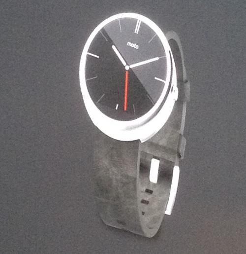 The Moto 360 smartwatch features a round face and will be available this summer.