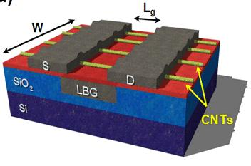 The source and drain electrodes cover the carbon nanotubes channel, all controlled by the same local back gate.(Source: IBM)