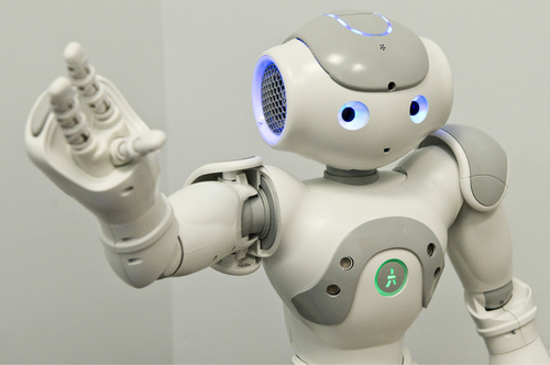 Robotics in the Tufts computer science department: Nao offers a greeting.(Source: Alonso Nichols/Tufts University)