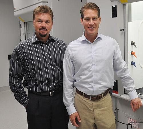 CEO Steve Squires (left) and vice president of research and development, David Doderer at Quantum Materials. (Source: Quantum Materials)