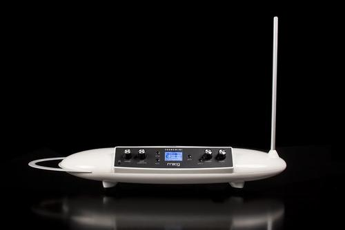 The Theremini has a small ring antenna (left) to control column and a telescoping vertical antenna (right) for controlling the pitch of a single note or any parameter in the internal or an attached music synthesizer.