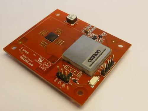 Imec and Omron will show off their prototype energy harvester board at Techno-Frontier 2014. The board weighs 15.4 grams and harvests vibrations on equipment to provide DC power to sensors in the microwatt range. (Source: Imec)