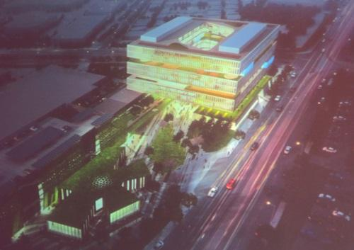 Samsung's new San Jose building will sport a sandwich of green between and around its 10 office floors.