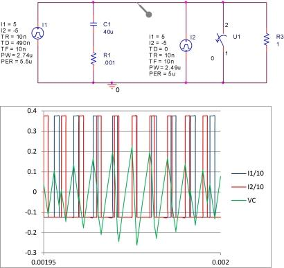 Beating effect on two asynchronous power supplies increases input ripple voltage. (Click here for a full-size image.)
