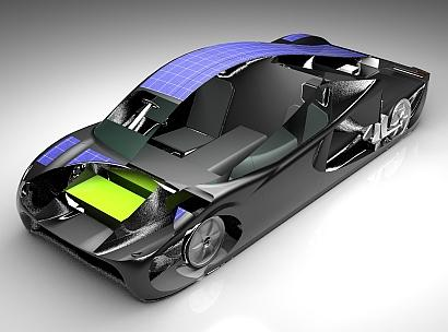 A cutaway image of the Sunswift eVe hybrid solar electric vehicle, which is claimed to offer a range of up to 800 km (~500 miles) on a single charge and a top speed of 140 km/h (87 mph), making it practical for day-to-day use.