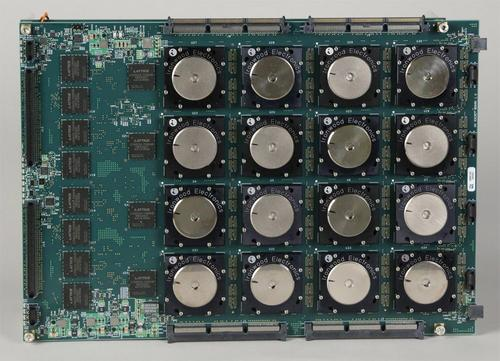 To demonstrate the ability to connect chip-to-chip communication seamlessly through tiling, IBM build a board where 16 chips weretested as a single network.(Source: IBM)