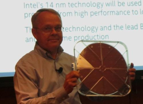 Mark Bohr holds a 14nm Intel wafer.