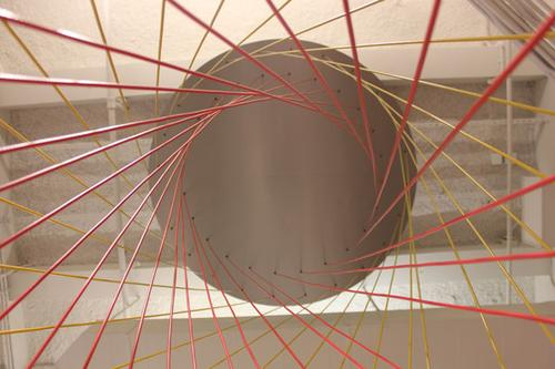 Inside the Hyper Hyperboloid exhibit.(Source: The Museum of Mathematics)