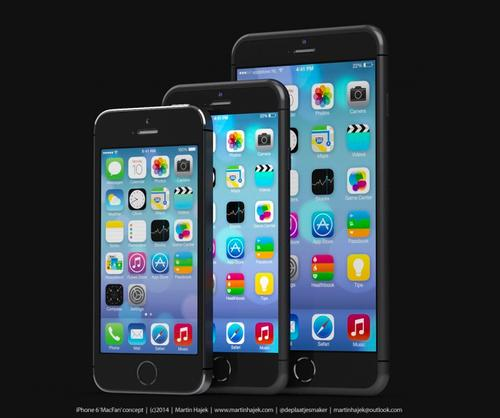 Artist's rendering of iPhone 5s (left), iPhone 6 (middle), and iPhone Air (right) created by Martin Hajek. (Source: Martin Hajek)