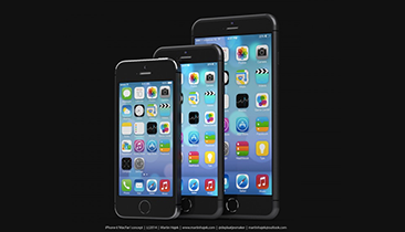 Artist's rendering of iPhone 5s (left), iPhone 6 (middle), and iPhone Air (right) created by Martin Hajek. 