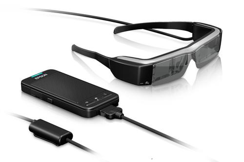 Epson's Moveria glasses add a stereo see-through display to their head-mounted unit. (Source: Epson)