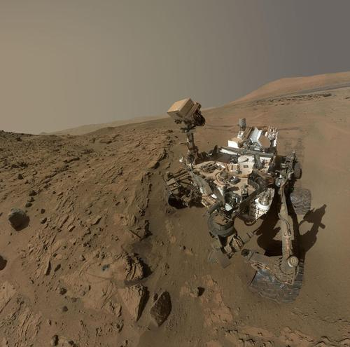 NASA's Curiosity Mars Rover used the camera at the end of its arm in April/May 2014 to take dozens of component images combined into this self-portrait. (Source: NASA)