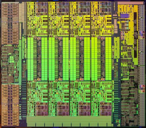 This closeup die shot shows the structure of Intel HaswellE5-2600 v3 processor.(Source: Intel)