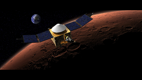 NASA's Mars Maven will study the upper atmosphere of Mars using an ultraviolet spectrometer and a solar wind ion analyzer. (Source: NASA)
