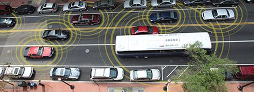 An illustration of vehicle-to-vehicle communication.