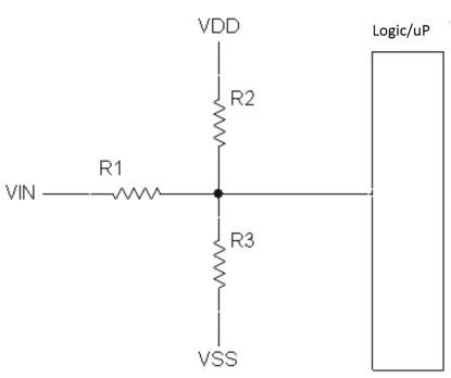 Resistor network to shift voltage level up or down.