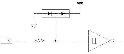 Standard input protection against overvoltage.