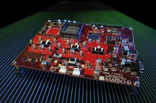 Secure embedded systems test platform from Virginia Tech is for tamper resistance research, especially intentional fault injection into microprocessor hardware. Virginia Tech's FAME (Fault-attack Awareness using Microprocessor Enhancements) aims to defend micro-controllers against malicious fault injection using elaborate tamper-sensitivity analysis. (Image: Jim Stroup / Virginia Tech)