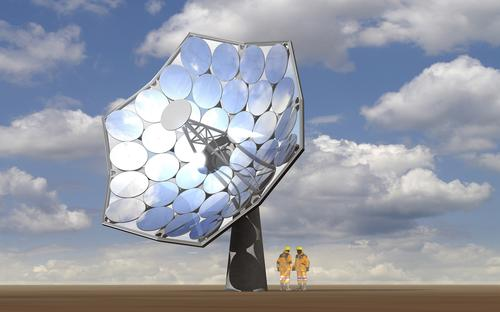 This solar dish produced up to 20 KW thanks to a collaboration between Airlight Energy, which has perfected low-cost solar concentration to 2,000X, and IBM, which has perfected water-cooling chips down to 105 degrees that would otherwise be driven up to 1,500 degrees.
