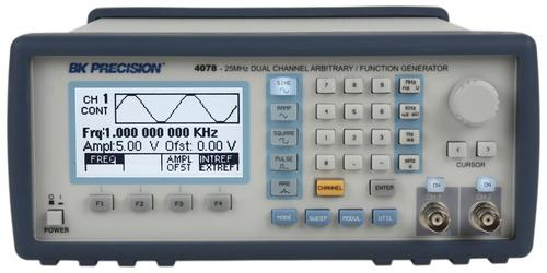 25MHz Arbitrary Waveform/Function Generator (pictured) was one item test equipment manufacturer B&K Precision donated to University of California Riverside for its electrical and computer engineering lab in Bourns College of Engineering. Other donated items were a power supply Model 1761, oscilloscope Model 2542B, and a multimeter Model 5492B.