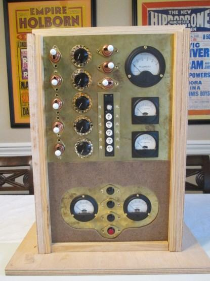 Inamorata Prognostication Engine control panels in their test jig (analog meters shown with their original faceplates) (Click here to see a larger image.)