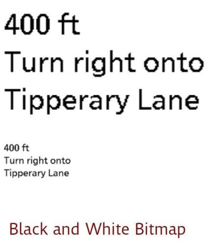 Figure 4: While the bitmap text has a jagged appearance around the curves and diagonals, the scalable technology enables the text to be resized without introducing distortion.