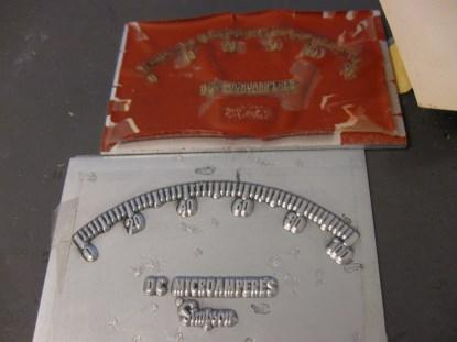 A zinc offset press plate and its plastic equivalent. As you can see, the plastic positive plates did not fare well over time. (Click here for a larger image.)