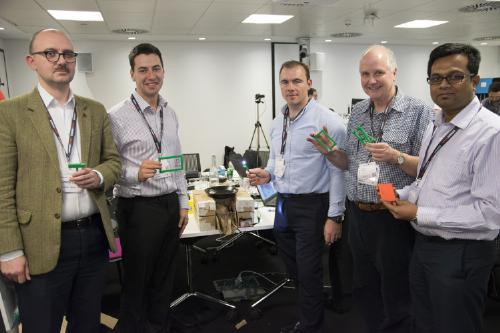 The winning hackathon team of Andrew Back (AB Open); Mario Caruso (QinetiQ) Daniel Tinsley (Schneider Electric ); Adrian Bowyer (RepRepPro); and Subhash Mungarwadi (TE Connectivity) came up with the Seebrick —a copper-iron thermocouple that could be embedded into the clay bricks typically used to insulate cooking stoves.