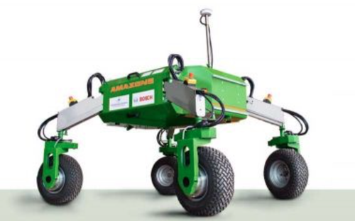 'BoniRob' is a lightweight field robot from Amazone being developed by Amazone-Werke Gmbh, of Hasbergen, Germany, with Robert Bosch GmbH. BoniRob is lightweight field robot capable of working in swarms with others like it for weeding, applying fertilizer, and other ag tasks.