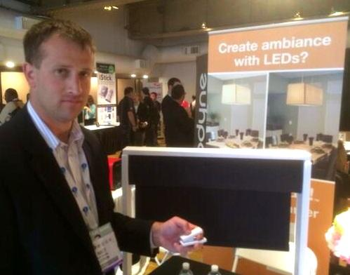 Matthew Swatsky shows some of Lutron's Caseta Wireless gadgets.