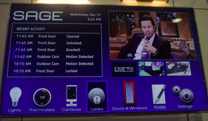 Sage's home security system has the unique feature of display on the home TV screen as well as on mobile devices.