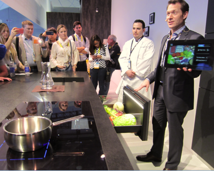 Tablet shows what's inside the fridge