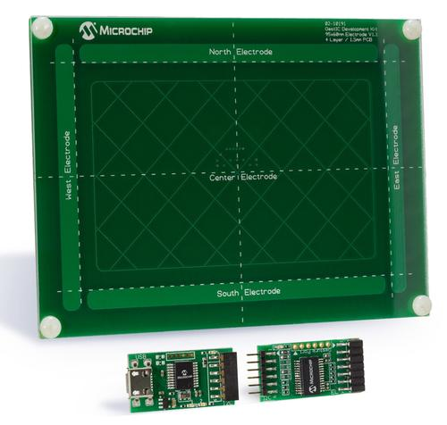 The GestIC development kit (DM160226) includes a five sensor board (top) and receiver chip (bottom right) and the gesture processing unit chip (bottom left) that interfaces to the application processor via USB.
