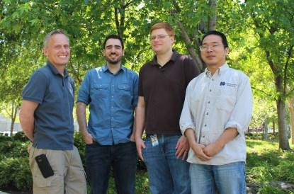 The team (from left to right): Richard Price, project lead & coordinator; Evan Custodio, technical contributor; Chris Rauer, embedded software guru; Bo Zhou, original inventor of the Cubic Board concept. Additional team members not shown here are Terry Barrette, Altera Innovation Forum contact; Duy Pham, technical contributor; and Lichao Li,Cubicboard.org Web developer.