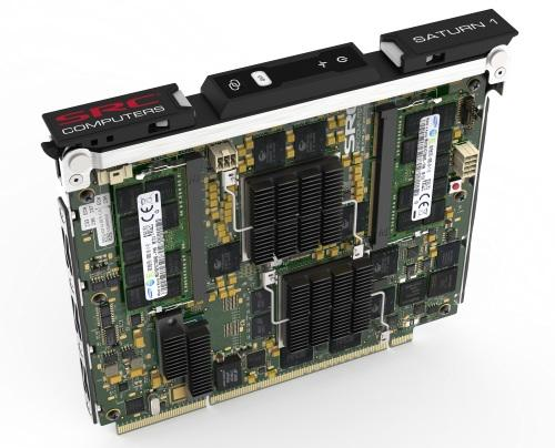The dual-Stratix IV SRC Saturn 1 rides HP's 4U Moonshot server.