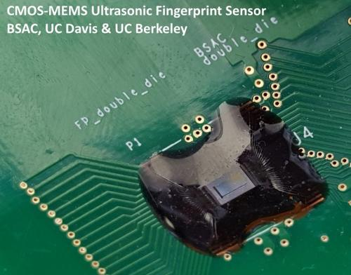 An ultrasonic fingerprint sensor on a board here measures a three-dimensional (3D) volumetric image of the finger's surface and the tissues beneath--making it near impossible to defeat.(Source: University of California)