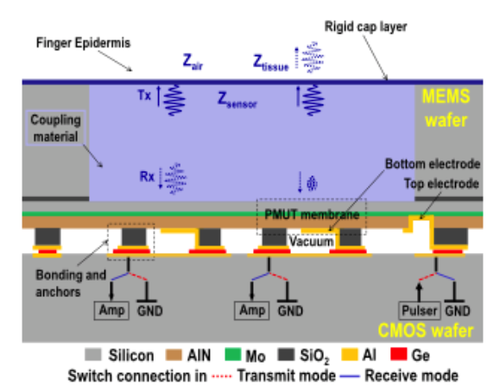 Block diagram show the various layers, vias and other structures that make the 3D microelectromechanical system (MEMS) fingerprint detector to its underlying complementary metal oxide semiconductor (CMOS) application specific integrated circuit (ASIC).(Source: University of California)