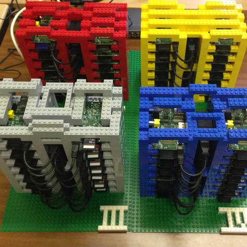 Using a combination of plastic Leggo Bricks and Arduino boards, University of Glasgow researchers have built a low-cost cloud architecture test bed. (Source: University of Glasgow Photo Gallery (https://raspberrypicloud.wordpress.com/))