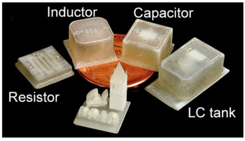 A range of 3D-printed electrical components, including a resistor, inductor, capacitor and an integrated inductor-capacitor resonatwe are shown, as labeled, with a model of Sather Tower on the University of California Berkeley campus along with the word 'Cal,' and the acronym 'BSAC' for Berkeley Sensor and Actuator Center. (Photo by Sung-Yueh Wu).