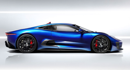 The Jaguar C-X75 concept super-car appear to outperform 007's Aston Martin DB-10 with a total of 850 horse power taking it from 0-to-60 in three seconds. (Source: Jaguar LLC)