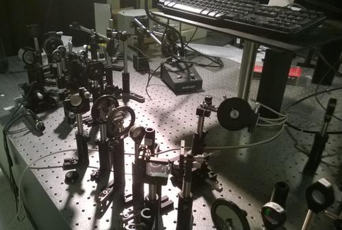 Photonics test bench at Purdue University for testing its unique aluminum-doped zinc oxide (AZO) material. (Source: Purdue University)
