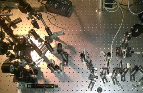 Top view of test set-up for nanophotonic transistors compatible with commercial telecommunications wavelength standards. (Source: Purdue University)