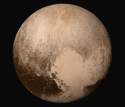 This high-resolution image of Pluto shows incredible levels of detail (courtesy NASA).